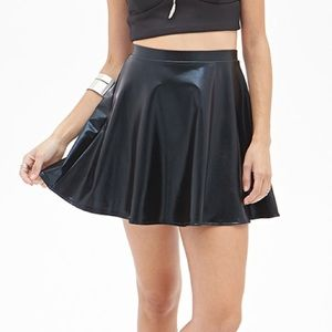 Forever 21 Faux Leather Mini Skater Skirt Size S